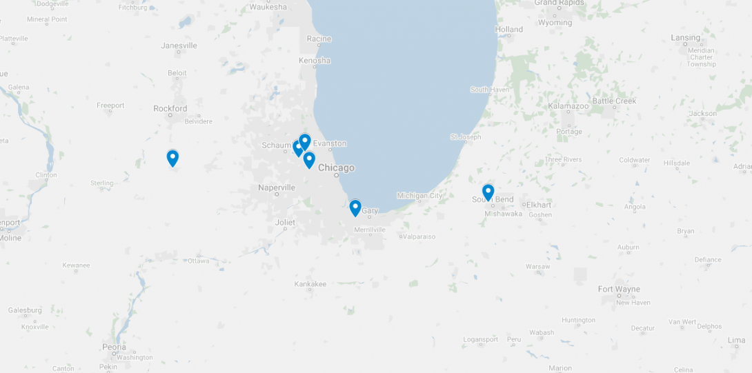 Map of South Lake Michigan Area with previously visited sites